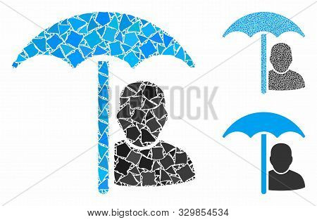 User protection umbrella composition of unequal parts in various sizes and color hues, based on user protection umbrella icon. Vector humpy parts are composed into composition. poster