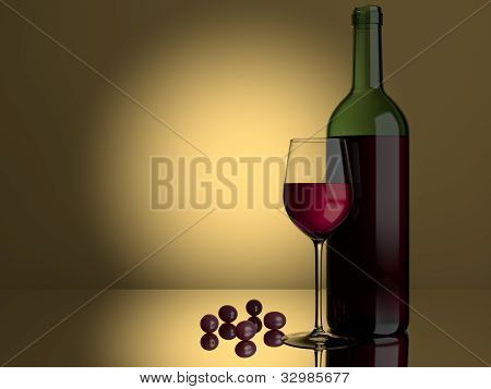Red Wine Glass Grapes