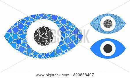Eye mosaic of raggy pieces in variable sizes and color tinges, based on eye icon. Vector joggly items are united into mosaic. Eye icons collage with dotted pattern. poster