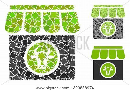 Livestock Farm Mosaic Of Rough Items In Different Sizes And Shades, Based On Livestock Farm Icon. Ve
