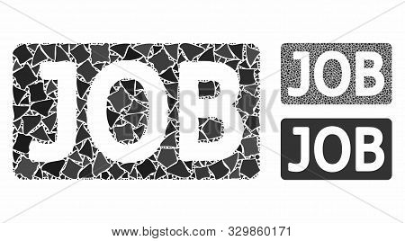 Job caption mosaic of joggly elements in various sizes and color tints, based on job caption icon. Vector joggly elements are composed into mosaic. Job caption icons collage with dotted pattern. poster