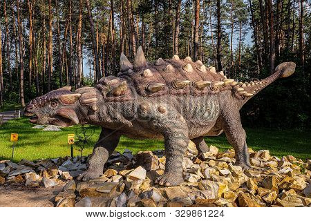 Belgorod, Russia - May 31, 2019: Full-size Ankylosaurus Statue In The Forest Of Belgorod Dinopark. H