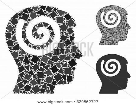 Hypnosis Mosaic Of Rough Items In Variable Sizes And Color Hues, Based On Hypnosis Icon. Vector Ineq