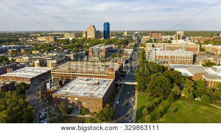Aerial View University Campus Area Looking Into The City Center Urban Core Of Downtown Lexington Ky