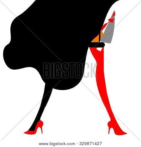Illustration Of A Cabaret Dancer With A Knife