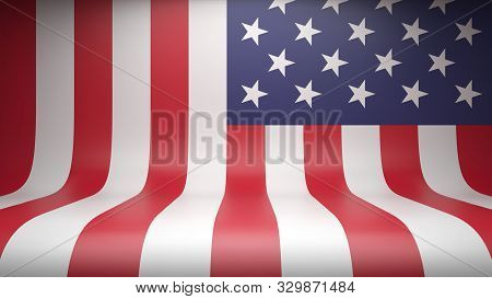 Studio Backdrop With Flag Of The United States Of America