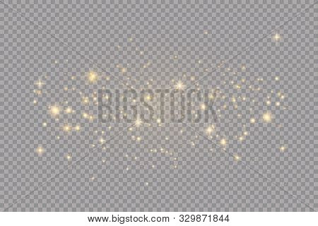 Set Of Golden Glowing Lights Effects Isolated On Transparent Background. Sun Flash With Rays And Spo