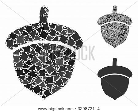 Acorn mosaic of joggly pieces in variable sizes and color tints, based on acorn icon. Vector inequal pieces are united into mosaic. Acorn icons collage with dotted pattern. poster