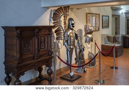 Mir, Belarus -  23-october-2019: Armor Of Knights - Polish Winged Hussar - In Armored Room In Mir Ca