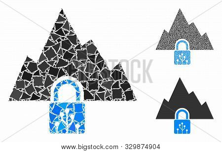 Vpn Tunnel Mosaic Of Humpy Pieces In Different Sizes And Shades, Based On Vpn Tunnel Icon. Vector Ra