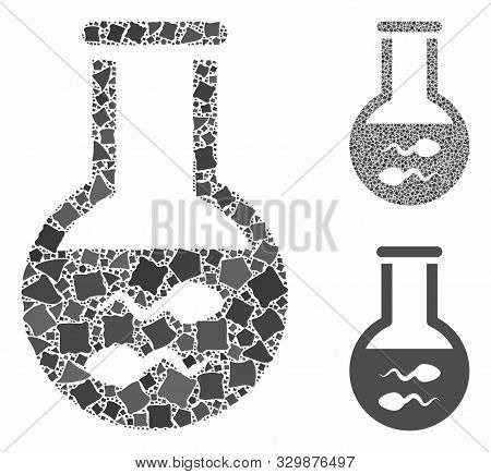 Sperm flask mosaic of unequal parts in different sizes and color tinges, based on sperm flask icon. Vector abrupt parts are united into mosaic. Sperm flask icons collage with dotted pattern. poster