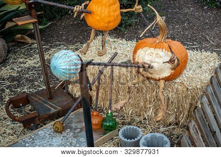 Glassblower Pumpkins Sitting On A Bale Of Hay