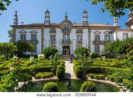 Vila Real, Portugal - 13 August 2019: Rear Entrance And Ornate Gardens Of Mateus Palace In Vila Real