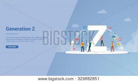 Generation Z Concept For Website Template Or Landing Homepage Banner - Vector Illustration