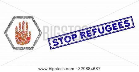 Mosaic Abort Hand And Rubber Stamp Seal With Stop Refugees Phrase. Mosaic Vector Abort Hand Is Forme