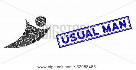 Mosaic Abstract Flying Man And Grunge Stamp Seal With Usual Man Caption. Mosaic Vector Abstract Flyi