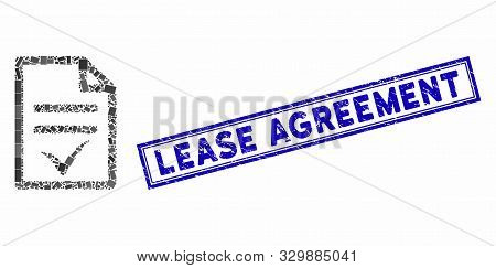 Mosaic Agreement Document And Rubber Stamp Seal With Lease Agreement Text. Mosaic Vector Agreement D