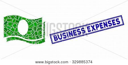 Mosaic Banknotes And Rubber Stamp Seal With Business Expenses Caption. Mosaic Vector Banknotes Is Fo