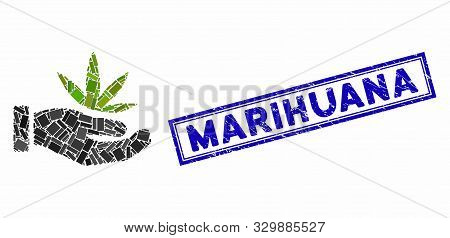 Mosaic Cannabis Offer Hand And Distressed Stamp Seal With Marihuana Phrase. Mosaic Vector Cannabis O