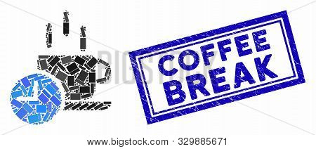 Mosaic Coffee Break And Corroded Stamp Seal With Coffee Break Phrase. Mosaic Vector Coffee Break Is