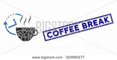 Mosaic Coffee Break And Grunge Stamp Seal With Coffee Break Caption. Mosaic Vector Coffee Break Is C