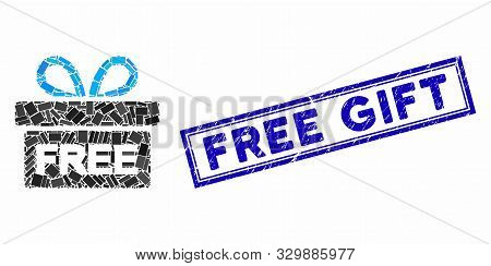 Mosaic Free Gift And Rubber Stamp Seal With Free Gift Caption. Mosaic Vector Free Gift Is Created Wi