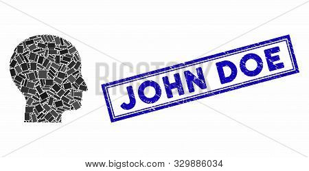 Mosaic Human Head And Rubber Stamp Seal With John Doe Caption. Mosaic Vector Human Head Is Composed
