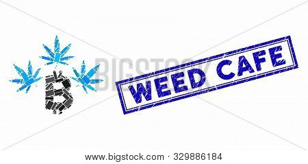 Mosaic Marijuana Bitcoin Business And Grunge Stamp Seal With Weed Cafe Phrase. Mosaic Vector Marijua