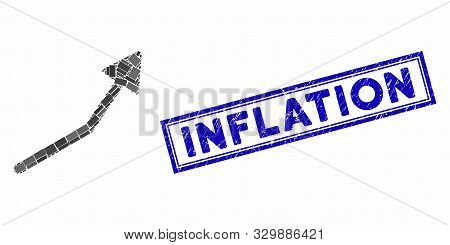 Mosaic Positive Trend Arrow And Grunge Stamp Seal With Inflation Phrase. Mosaic Vector Positive Tren