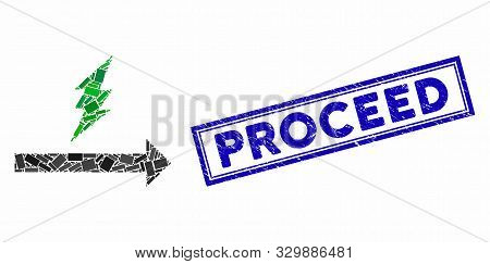 Mosaic Proceed And Corroded Stamp Seal With Proceed Text. Mosaic Vector Proceed Is Designed With Ran