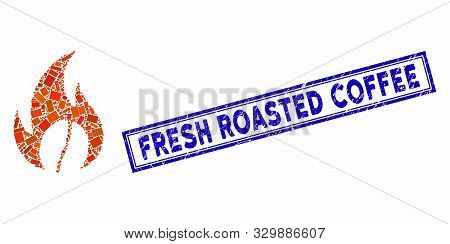 Collage Roasted Coffee And Distressed Stamp Seal With Fresh Roasted Coffee Text. Mosaic Vector Roast
