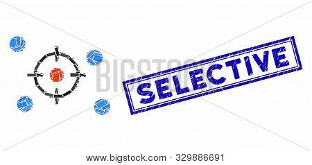 Mosaic Selective And Rubber Stamp Seal With Selective Text. Mosaic Vector Selective Is Created With