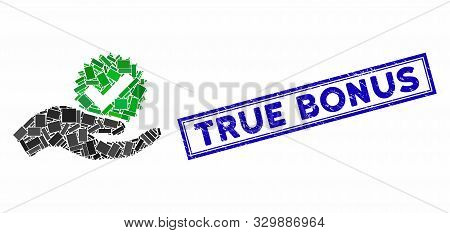 Mosaic True Bonus And Distressed Stamp Seal With True Bonus Text. Mosaic Vector True Bonus Is Create