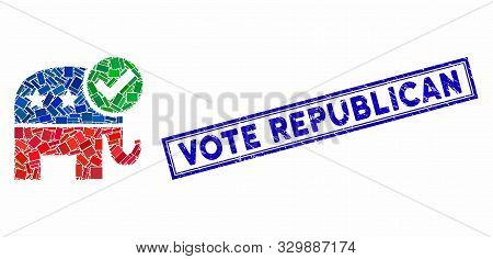 Mosaic Vote Republican And Rubber Stamp Seal With Vote Republican Text. Mosaic Vector Vote Republica