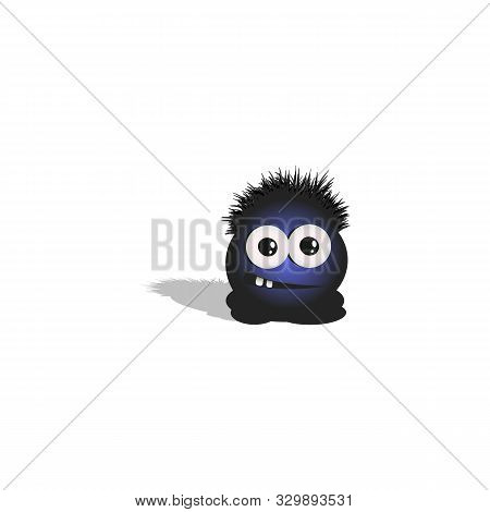 Cartoonish Round Little Hairy And Big-eyed Tadpole Shows Emotion Relaxedness