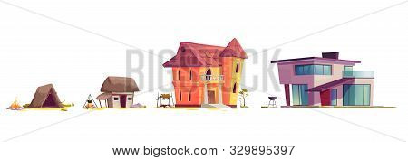 Evolution Of House Architecture, Cartoon Vector Illustration. Human Home Dwelling Development Proces