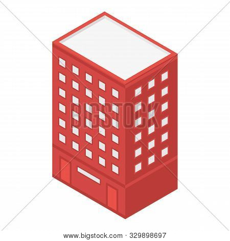 Red City Building Icon. Isometric Of Red City Building Vector Icon For Web Design Isolated On White