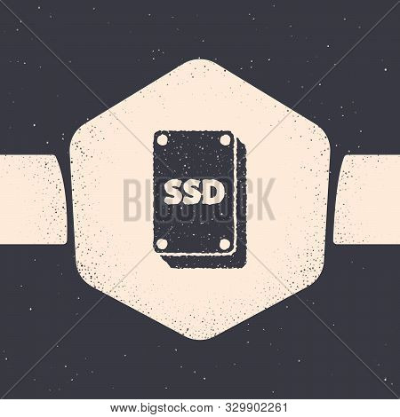 Grunge Ssd Card Icon Isolated On Grey Background. Solid State Drive Sign. Storage Disk Symbol. Monoc