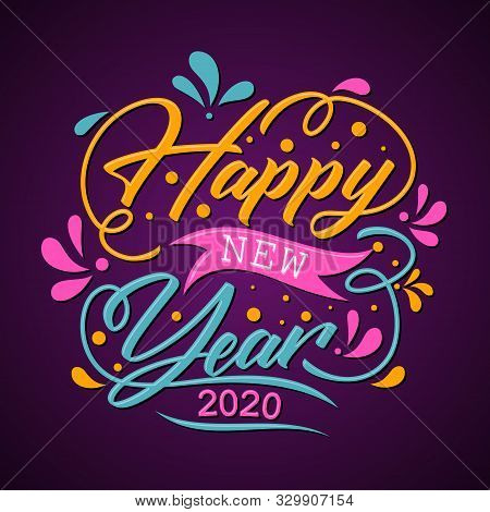 2020 Happy New Year Greeting Card Or Background Letter. Design Vector Letter Happy New Year For Elem