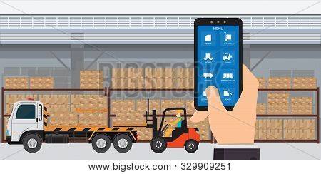 Warehousing And Storage App On A Smartphone With Logistic, Cargo And Shipping Icons, Freight Transpo