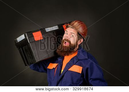 Manual Worker. Man With Tool Box. Builder With Box For Instruments. Tools For Repair. Repair Kit. Bu