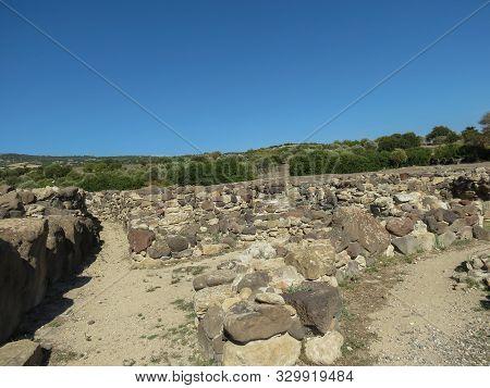 Barumini, Sardinia, Italy - Circa October 2019: The Nuraghe In Barumini, Ruins Of A Prehistoric Mega