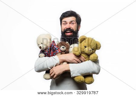 Bearded Man With Plush Toy. Teddy Bear Present. Birthday Or Anniversary And Holiday Celebration. Mal