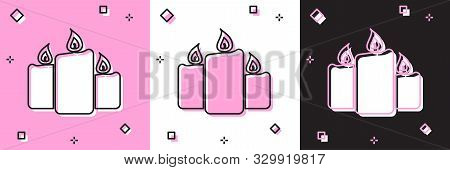 Set Burning Candles Icon Isolated On Pink And White, Black Background. Old Fashioned Lit Candles. Cy
