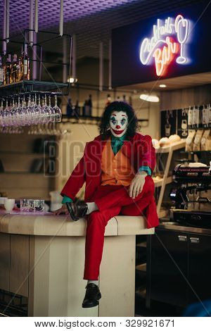 Dnipro, Ukraine - October 22, 2019: Cosplayer Portrays A Crazy Clown Arthur Fleck From The Psycholog