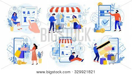 Online Shopping. Internet Market, Mobile App Shopping And People Buy Gifts. Smartphone Payment And O