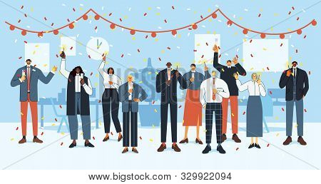 New Year Office Party. Happy Employees Celebrate Holidays, Business Office Crew Christmas Party And