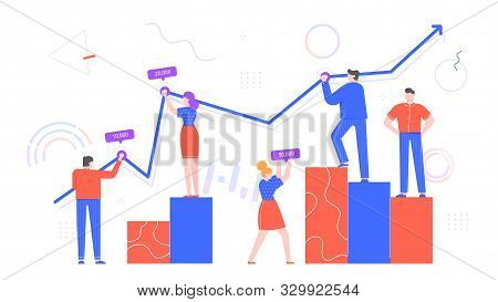 People Work With Chart Data. Office Workers Statistics, Business Diagram And Team Work With Chart Fl