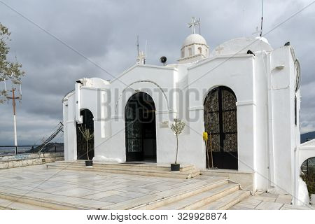 Athens, Greece - January 20 2017: Orthodox Church Of St. George At Lycabettus Hill In Athens, Attica