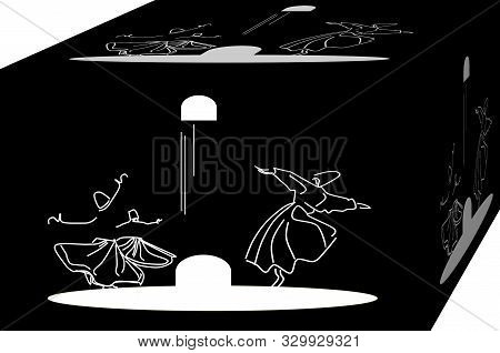 Dance as vibration. Whirling dervishes.  Sufi religious dance. Illustration, background. 3d poster